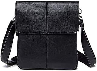 Men's Genuine Leather Vintage Cowhide Flip Single Shoulder Bag (Color : Black)