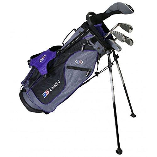 U.S. Kids Golf Ultra Light 54' Height, 5 Club Stand Golf Set with Bag, Grey/Purple, Right Hand