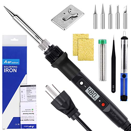 A-BFastiron Electronics Soldering Iron Kit - 80W 110V Soldering Gun, LCD digital adjustable temperature Solder Iron, Soldering Kit with 5pcs Solder Tips, Welding Tool for electronic repairs and DIY