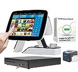 ZHONGJI Doble pantalla táctil incorporada impresora térmica caja registradora con software POS para restaurante+cajón de efectivo+impresora de cocina 80E