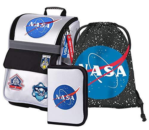 Schulranzen Jungen Set 3 Teilig - Zippy Schultasche ab 1. Klasse - Grundschule Ranzen mit Brustgurt - Ergonomischer Schulrucksack (NASA)