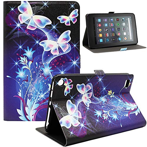 Bbjjkkz Amazon Fire 7 Tablet Case, Ultra Slim Lightweight PU Leather Folio Smart Stand Case Cover for Amazon Fire 7 Inch Tablet (9th 7th 5th Generation,2019 2017 2015 Released), 01 Colored Butterfly