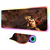 Gaming Mouse Pads Anime One Piece Mouse Pad Gaming RGB Keyboard Pad Backlit Mat Led Glowing Pc Accessories Big Gaming Gamer 24 inch x12 inch