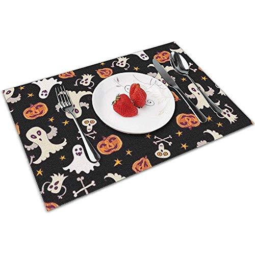 N/A Tovagliette per Tavolo da Pranzo; Tovaglietta Lavabile Set di 6 zucche e Fantasmi di Halloween strani Antiscivolo termoresistenti
