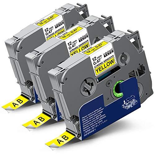 3x Labelwell 12mm Kompatibel Schriftband Ersatz für Brother Tz Tze-S631 TzeS631 Extra-Stark Klebend Schwarz auf Gelb für Brother Ptouch PT-H100LB PT-D210VP PT-D600VP PT-D400VP PT-H107B PT-P700 D200DW