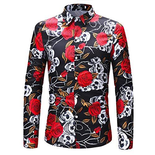 AiRobin Camisa básica de Manga Larga con Estampado de Calaveras para