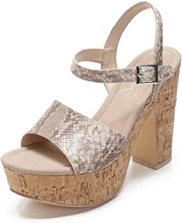 G374-9 Women's Chunky High Heel Platform Sandals Ankle Strap Peep Toe Wedge Heels