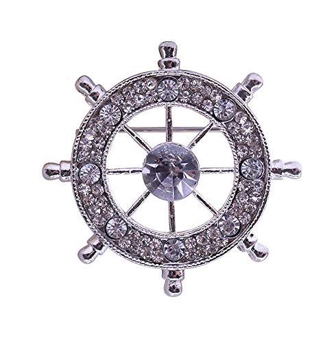 Générique Broche timón de Barco, Acero y Diamantes de imitación Cristal Blanco.