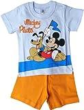 Disney Micky Maus Zweiteiler / Schlafanzug / Shirt und Shorty - Mickey und Pluto - Fans - Blau/Orange