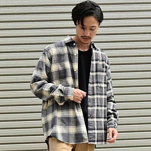 シップス(メンズ)(SHIPS) SU: ビッグシルエット クレイジー チェック ネルシャツ【グレー/SMALL】