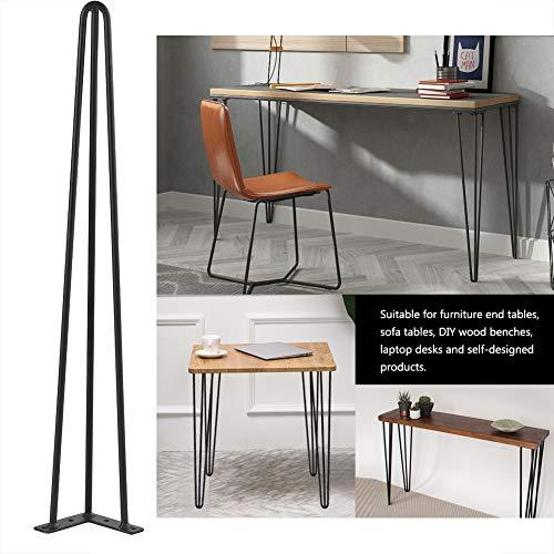 Gototo 4 tafelpoten, haarspeld van ijzer, tafelvoet, metaal, zwart, industrieel, stabiel en robuust, meubelpoten voor doe-het-zelf, tafel, stoel, meubels, 71/76 cm