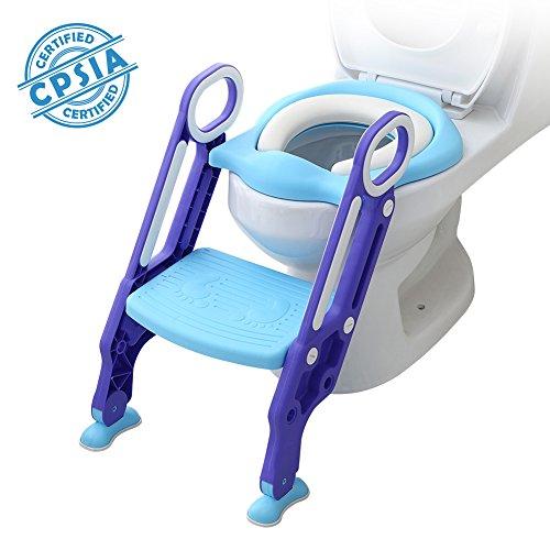 Riduttore Wc per Bambini con Scaletta Pieghevole, Kit Toilette Trainer Step Up con Cuscino Tenero Modello Universale