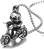 YOUZYHG co.,ltd Collar Vintage Acero Motocicleta Colgante Collar Calavera Esqueleto Bicicleta de Montar con Cadena de Bolas 30