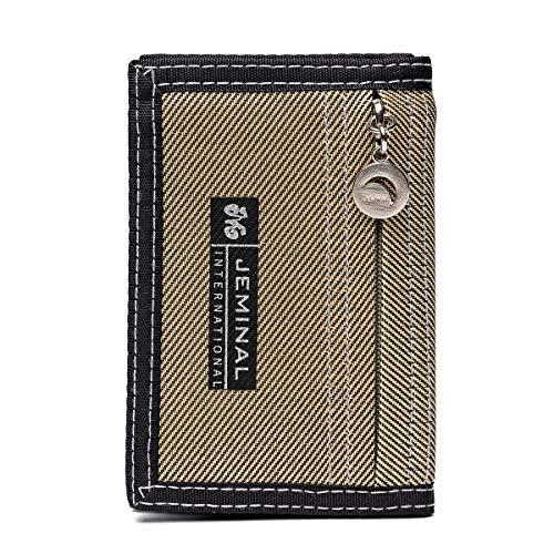Portafoglio corto per Uomo,OURBAG Portafoglio Bifold Sottilcon Cerniera RFID Tasca Frontale Portafoglio Porta Carte di Credito Sicuro per Ragazzo Cachi#01