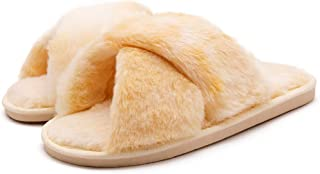Women's Fluffy Furry Fuzzy Slippers Cross Band Soft Plush Flat Slide Memory Foam House Slippers Open Toe Comfy Spa Indoor Outdoor Slip On