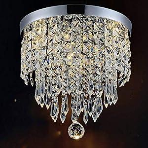 "Hile Lighting KU300074 Modern Chandelier Crystal Ball Fixture Pendant Ceiling Lamp H10.43"" X W8.66"", 1 Light (Chrome)"