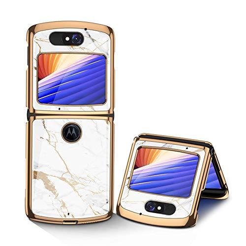 MingMing Hülle für Motorola Razr 5G Hardcase Stoßfest Schutzhülle PC + 9H Gehärtete Glasabdeckung, Superdünne handyhülle für Motorola Razr 5G, Goldweiß