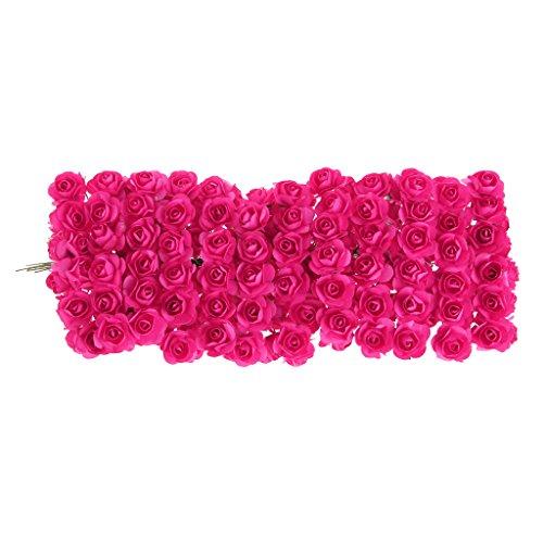 VIccoo 144Stuks DIY Rose Mini Kunstbloemen Boeket Effen Kleur Bruiloft Decoratie - Hot Pink