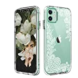 iPhone 11 Case Clear Flower Design,SPEVERT Fashionable Clear Floral Transparent Hard Back Soft TPU Bumper Protective Case for iPhone 11 6.1 inches - Lace B