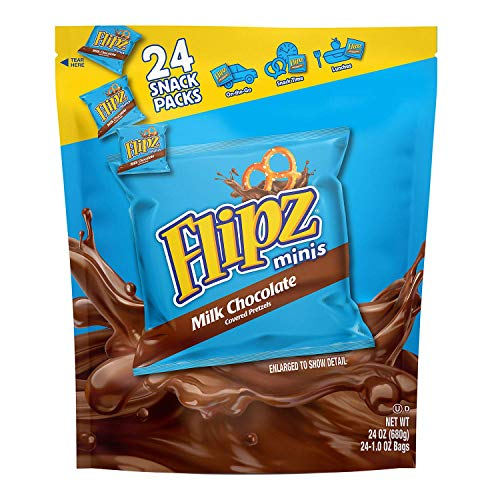 Flipz Pretzels Minis, Milk Chocolate, 1-Ounce Snack Bags Packages (Pack of 24)