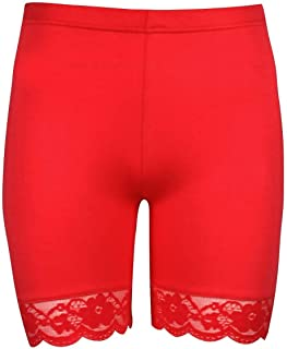 Janisramone Girls Kids New Plain Lace Trim Viscose Dance Active Tights Summer Cycling Shorts Hot Pants