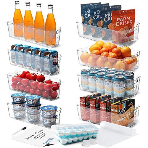 StorageBud Fridge Organizer - 16 PC Refrigerator Organizer Bins - Clear Pantry Bins and Refrigerator Organizer Fridge Bins - Stackable Clear Storage Bins For Pantry or Freezer Bins