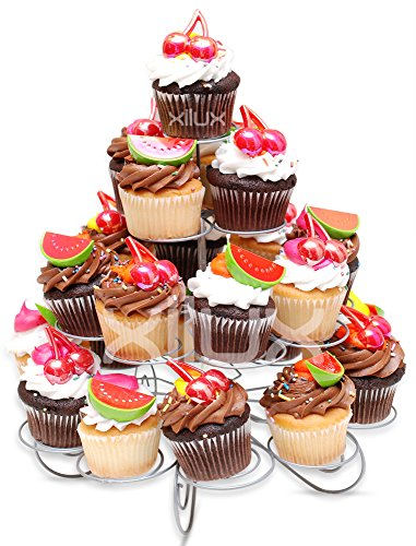 Cupcake Stand or Cupcake Holder for Parties, a 4 Tier Reusable Metal Cupcake Tower for 23 Cupcakes and Dessert