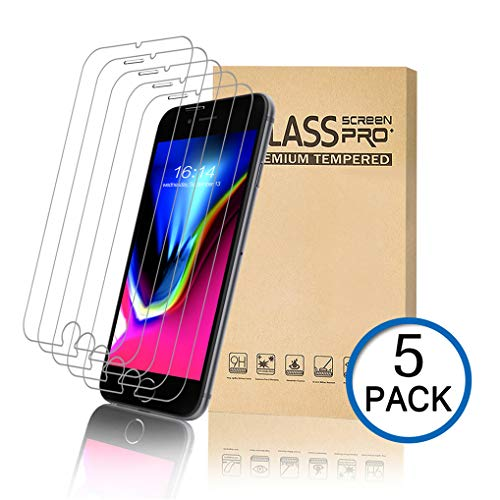 MOSBO [5 Pack] Screen Protector Compatible with iPhone 8, iPhone 7, iPhone 6S, iPhone 6, Tempered Glass Screen Protector, 4.7 inch, 3D Touch, Anti-Scratch