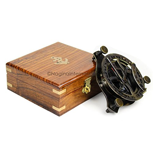 "Nagina International 5"" Triangular Beautiful Nautical Sundial Compass With Level Meter Encased In Genuine Rosewood Anchor Inlaid Case 
