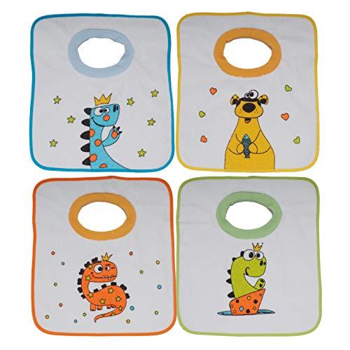 Ti TIN Pack 4 Baberos Estampados Impermeables para Bebés de Más de 1 año con Cuello de Goma Elástica | Babero con Toalla de Rizo Forrado con Plásticos