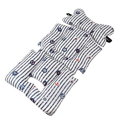 Cojín para cochecito de fibra de poliéster (espalda) de 0 a 15 meses para viajes y juegos de bebé(Striped boat)