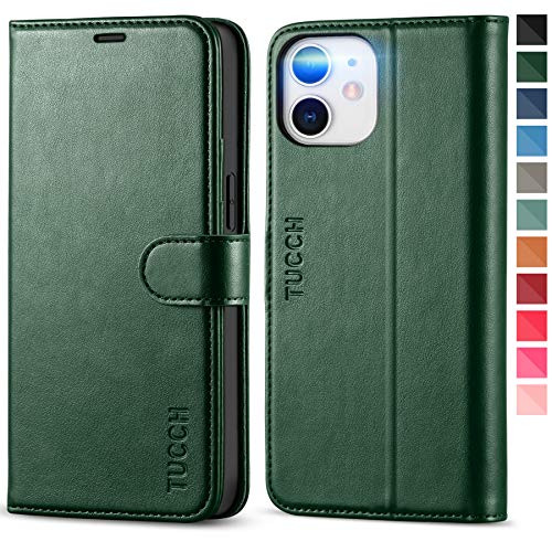 TUCCH Case for iPhone 12 Mini 5G, Wallet Case with [TPU Shockproof Inner Case], PU Leather RFID Blocking Card Holder Magnetic Stand Flip Cover Compatible with iPhone 12 Mini 5.4-inch, Midnight Green