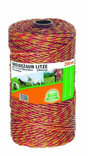 Göbel Weidezaun Spezial Litze 250m 3 Niroleiter 7,5 Ohm/m UV Stabilisiert gelb orange