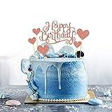 CYRUSS Decorazione per Torta di Compleanno in Oro Rosa con Scritta Happy Birthday e 6 Decorazioni per Torte Decorate con Amore …