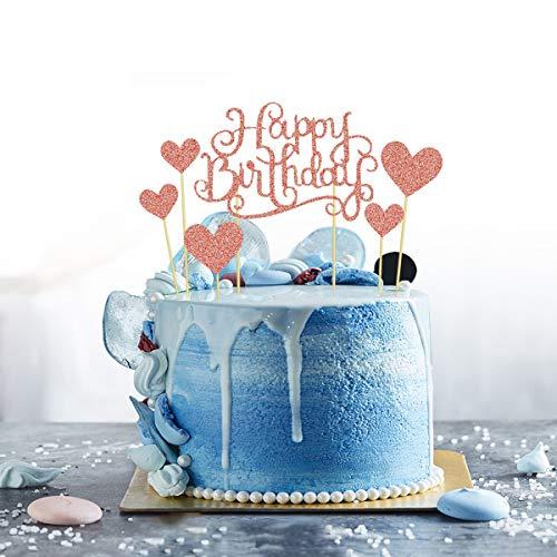1 decoración para tarta de cumpleaños de oro rosa, hecha a mano, 6 unidades, decoración para tarta de cumpleaños