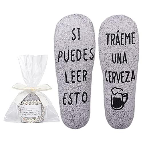 Merclix Calcetines Hombre para Dormir Cerveza Regalo para Hombre Padre Novios (Gris-Cerveza)