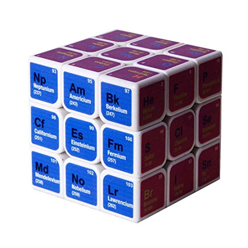 ZTGHS Tabla Periódica De Elementos Cubo, 3Er Orden Elementos Químicos Tabla Periódica Cubo Pantalla De Cubo Regalo Rompecabezas Cubo Fórmula De Aprendizaje Educación Juguete,Blanco
