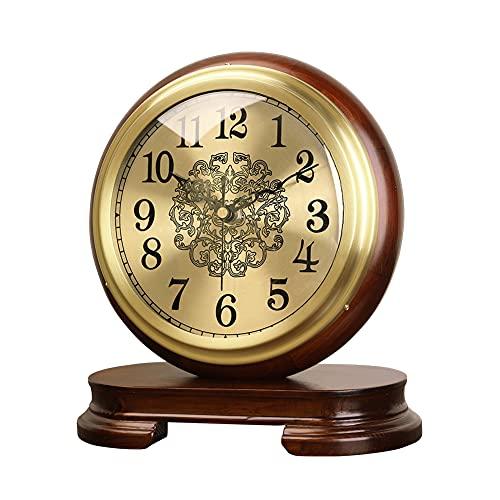 RH-ZTGY Reloj De Mantel, Relojes De Mesa Retro, Relojes De Escritorio De Madera Maciza Silenciosa, Reloj De Mesa Vintage, Movimiento De Cuarzo, Adecuado para Sala De Estar Y Dormitorio Mantel