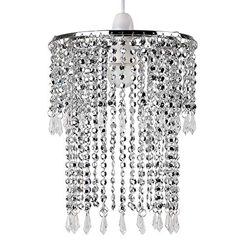 MiniSun – Moderner 2-stufiger Lampenschirm mit glitzerndem Chrom-Finish und hängenden Perlen und Juwelen aus Acryl – 2 Stufiger Perlen Decken Kronleuchter