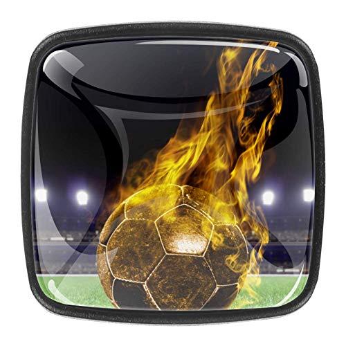 4 pomos transparentes para puerta de armario, cajón, armario, portabicicletas, diseño de elefante, Balón de fútbol ardiente en el campo de juego del estadio, 1.18x0.82x0.78 in/3x2.1x2 cm
