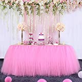 DishyKooker Falda de mesa de tul con adhesivo mágico, de 91,4 x 78,7 cm, para fiestas, bodas, baby shower y decoración del hogar, color rosa