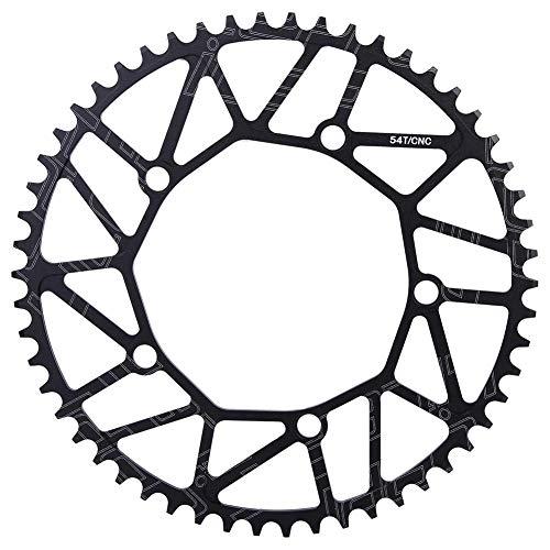 Aigend Plato de Bicicleta - Dientes positivos y Negativos Plato de Ciclismo de Disco único de manivela 130BCD 130BCD 50 52 54 56 58T(54T)