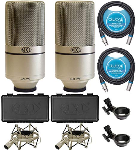 MXL 990 Condenser Microphones for Vocal and Acoustic Instrument Recording (2-Pack) Bundle with Blucoil 10-FT Balanced XLR Cables (2-Pack)