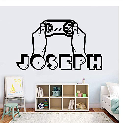 Wall Decor Decals DIY Self Adhesive Wall Sticker Boy Name Wall Decal Personalized Game Player Name Decal 3D Sticker Controller Video Game Decal Name Teen Computer 42X25Cm