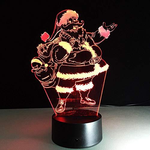 Lámpara de 7 colores de Papá Noel, luces de noche LED visuales 3D para niños, mesa táctil USB, Lampara Lampe, luz de noche para dormir, regalo de Navidad, interruptor táctil