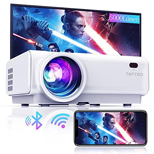 Proyector WiFi, TOPTRO 6000 Lúmenes Bluetooth Mini Proyector Portátil Soporte Video 1080P , Proyectores Cine en Casa, Zoom X Y, LED 80000H, para Fire TV Stick, PC, PS4, con Cable HDMI y AV