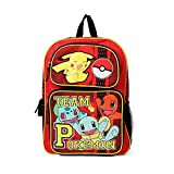 Team Pokemon Red 16' Inch Pikachu Charmander and Squirtle Backpack School Bag