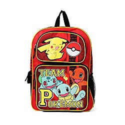powerful Team Pokemon Red School Bag 16inch Pikachu Charmander and Squirtle Backpack