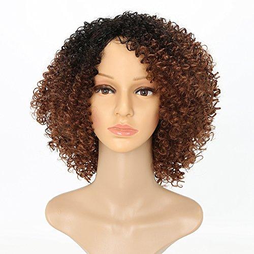 Perruque Afro frisée courte - Perruques bouclées - Perruques dégradées noir et marron pour femmes - Résistant...