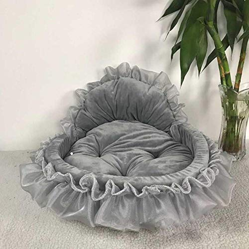 Hundebett Princess Dog Bed Soft Sofa for Small Dogs Pink Lace Puppy House Pet Doggy Teddy Bedding Cat Dog Beds Luxury Nest Mat Kennels 46X43Cm Grey